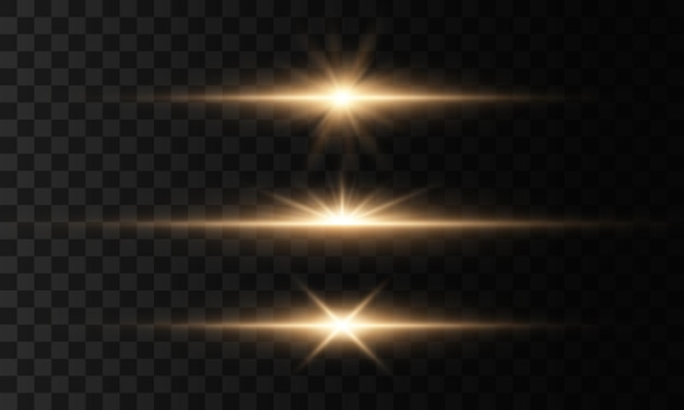 Gloeiende lichten en sterren. geïsoleerd op transparante achtergrond. set van licht explodeert. sprankelende magische stofdeeltjes. heldere ster, schittert transparante stralende zon, flitslichteffect