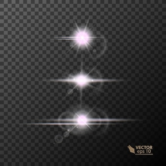 Gloeiende lichten en sterren geïsoleerd op zwarte transparante achtergrond