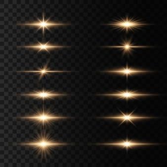 Gloeiende lichten en sterren. heldere ster, schittert transparante stralende zon