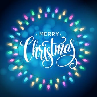 Gloeiende lichten krans voor kerstvakantie wenskaarten ontwerp. merry christmas belettering label. vectorillustratie eps10