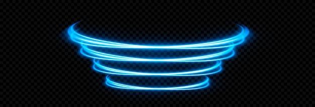 Gloeiende lichtlijnen. blauw neonlicht