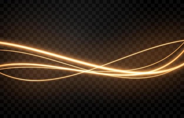 Gloeiende lichtlijnen op transparante achtergrond