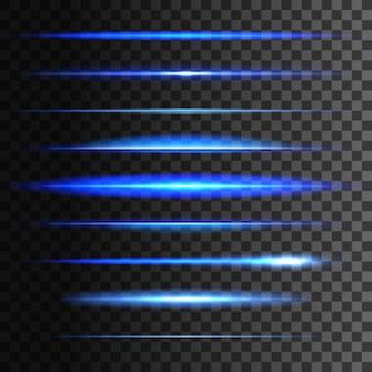 Gloeiende lichtlijnen, set van licht gloeien lineair effect. blauwe neonlichtflitsstrepen en sprankelende stralen op transparante achtergrond