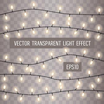 Gloeiende lichtslingers op een transparante achtergrond