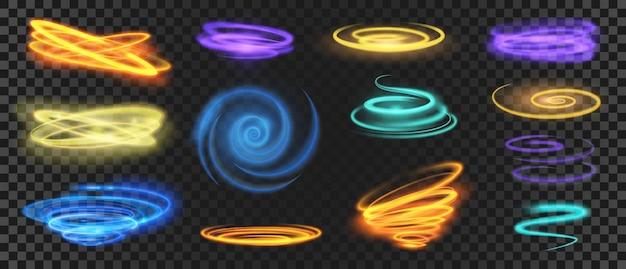 Gloeiende lichtspiralen, cirkels, wervelingen en snelheidsbewegingseffect. realistische glanzende neon trail-curven. magische energie ringen en golven vector set. lichtgevende glitter heldere kleurrijke lijnen en krullen