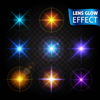 Gloeiende lichtverblinding, heldere realistische lichteffecten. gebruik ontwerp, gloed voor het nieuwe jaar, kerst en feestdagen.