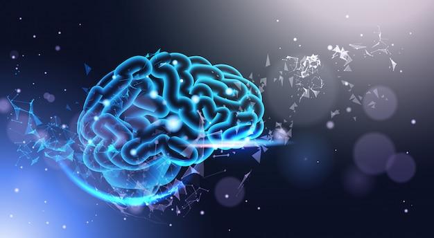 Gloeiende menselijke hersenen op poligonal achtergrond met glanzende bokeh licht laag poly stijl wetenschap, geneeskunde en technologie concept