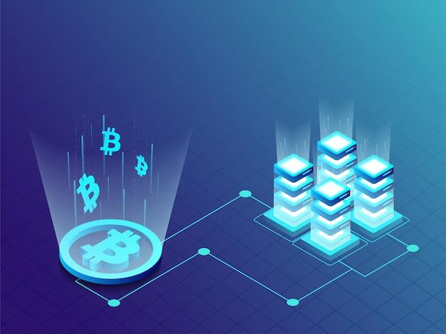 Gloeiende mijnbouw- of bitcoin-server.