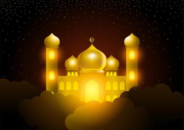 Gloeiende moskee aan de hemel, islamitisch thema, ramadan Premium Vector