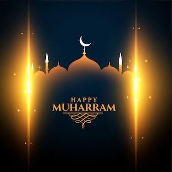 Gloeiende moskee en lichten muharram-festival