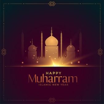 Gloeiende moskee voor gelukkig muharram-festival