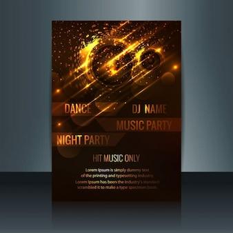 Gloeiende music party flyer