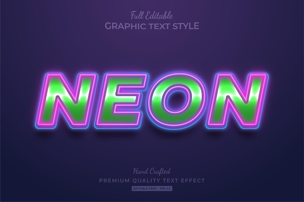Gloeiende neon bewerkbare teksteffect lettertypestijl