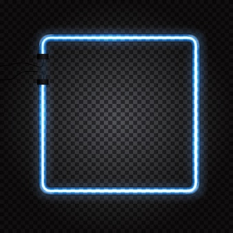 Gloeiende neon buizen frame op donkere transparante achtergrond.