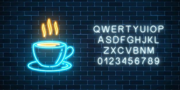 Gloeiende neon koffiekopje met alfabet