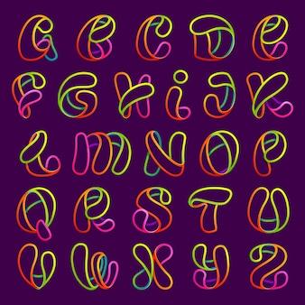 Gloeiende neon lijn letters set. lettertype