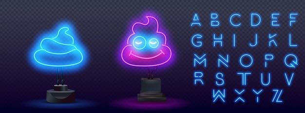 Gloeiende neon shit pictogram geïsoleerd op bakstenen muur achtergrond. neon licht alfabet. neon pictogram kak, stront, ontlasting. illustratie