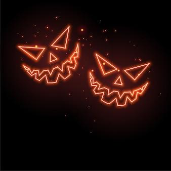 Gloeiende neon spook gezichten op zwarte achtergrond