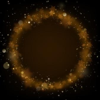 Gloeiende ring van kerst gouden sprankelende sneeuw ornament.