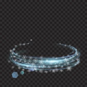 Gloeiende ringen met glitter en sneeuwvlokken in lichtblauwe kleuren op transparante achtergrond. lichteffecten. voor gebruik op donkere achtergronden. transparantie alleen in vectorformaat