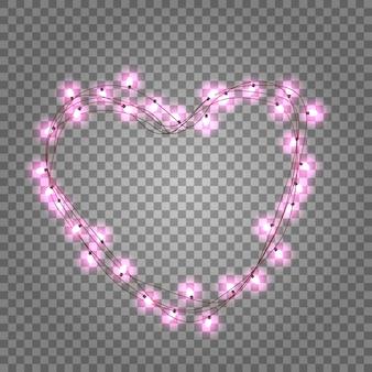 Gloeiende slinger in de vorm van een hart