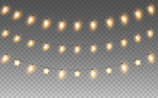 Gloeiende slingers van kerstmis of nieuwjaar geïsoleerde gloeilampen vector lichten decoraties set