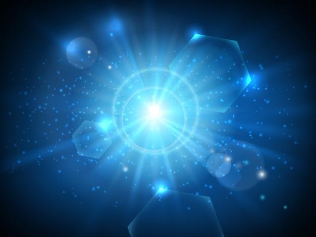 Gloeiende ster op ruimteachtergrond