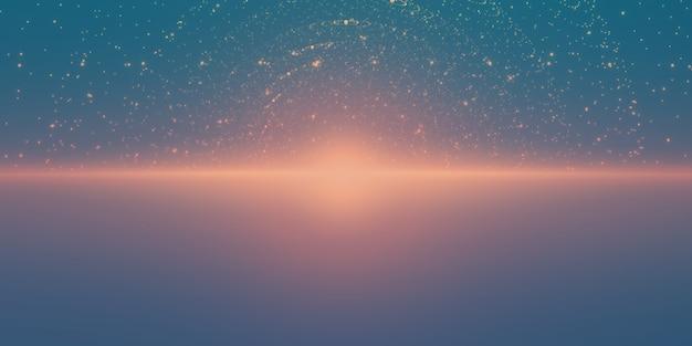 Gloeiende sterren met illusie van diepte en perspectief