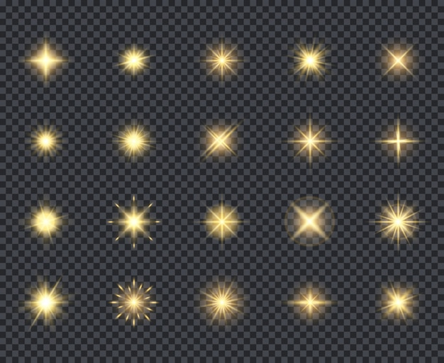 Gloeiende sterren pictogram. viering effecten mooie vonken verlichting stralen realistische iconen collectie