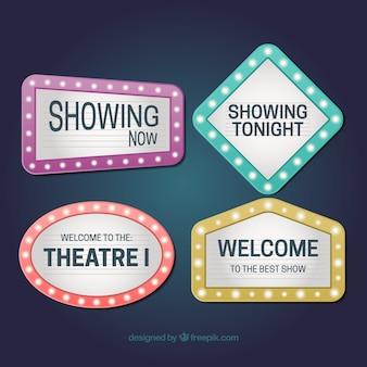 Gloeiende theater teken verpakking