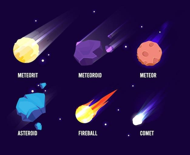 Gloeiende universum astronomie set meteoor asteroïde kometen collectie in cartoon-stijl.