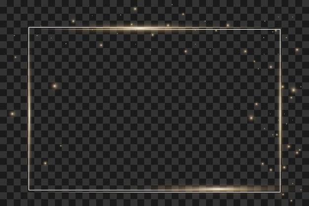 Gloeiende vintage gouden frame met schaduwen geïsoleerd op transparante achtergrond. rechthoekig frame met lichteffecten. oude luxe realistische rechthoekrand. vector