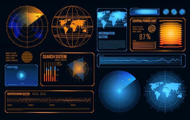 Gloeiende zoekradar set van controle van het ophaalsysteem