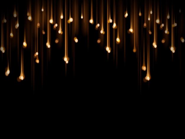 Gloeilamp decoratie, feest of feestelijke decoratieve elementen geïsoleerd op zwarte achtergrond