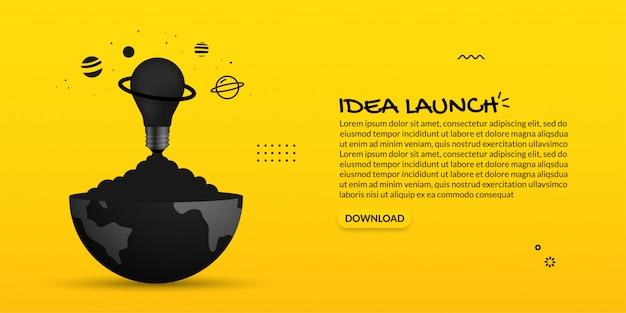 Gloeilamp die uit van aarde op gele achtergrond lanceren, creatief ideeconcept