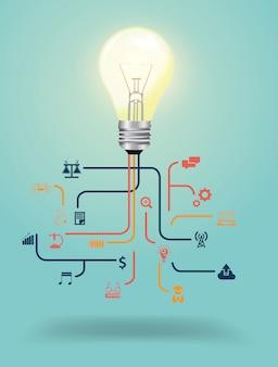 Gloeilamp idee met creatieve wetenschap pictogrammen