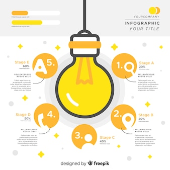 Gloeilamp infographics sjabloon