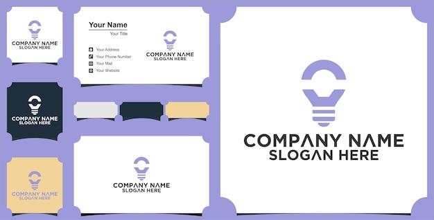 Gloeilamp logo ontwerp en visitekaartje