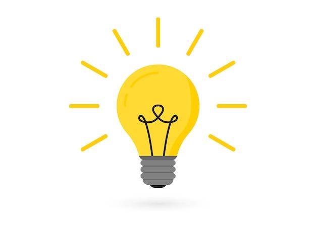 Gloeilamp met stralen. verlichting elektrische lamp. creatief idee, oplossing, denkconcept