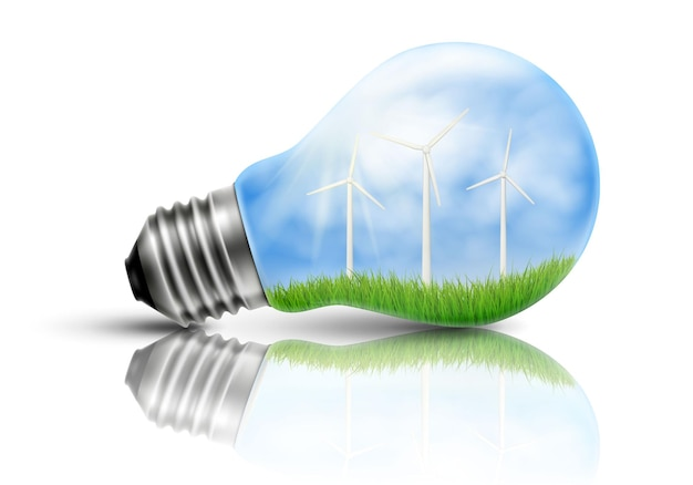 Gloeilamp met windturbines in kant, ecologieconcept, concept groene energie. vector 3d-realistische illustratie.