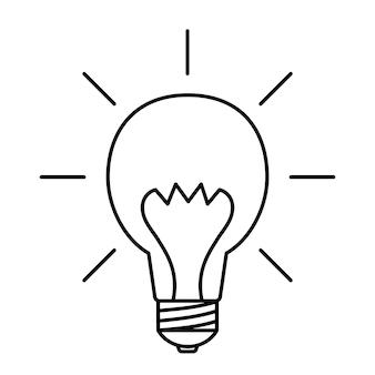 Gloeilamp met zonnestralen idee teken oplossing denken concept verlichting elektrische lamp
