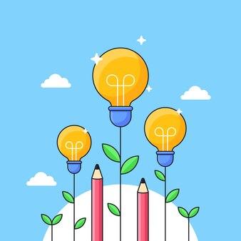 Gloeilamp plant met potlood groeit hoog voor slimme onderwijs visuele concept illustratie