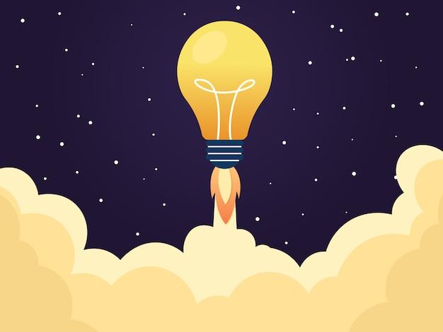 Gloeilamp raket lancering voor idee boost
