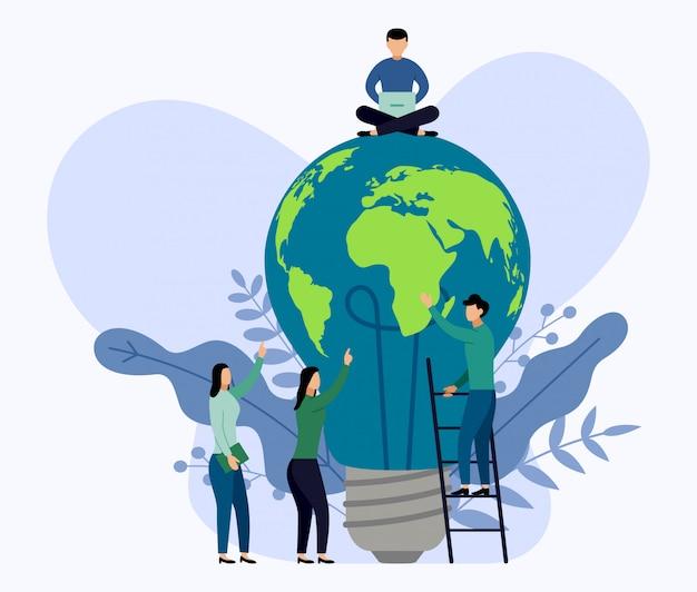 Gloeilamp wereldkaart, eco-vriendelijk concept, vectorillustratie