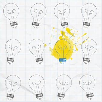 Gloeilampen met de hand getekend op het vierkante papier een is ingeschakeld anderen uitgeschakeld groot idee concept