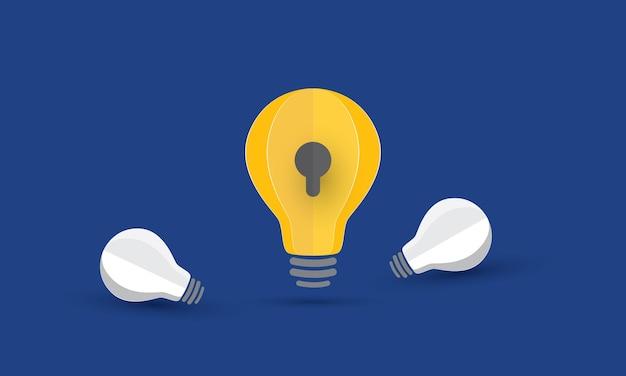 Gloeilampenidee met sleutelgat intellectueel eigendom bedrijfsprobleem concept inspiratie zaken