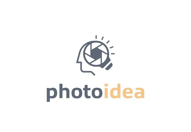 Gloeilamplens en creatieve logo-combinatie van menselijk hoofd