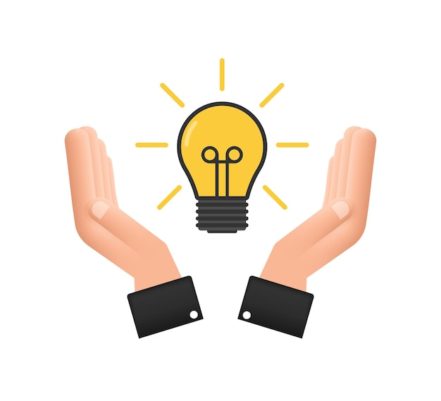 Gloeilamppictogram met handen. lamp, gloeilamp. vector voorraad illustratie.