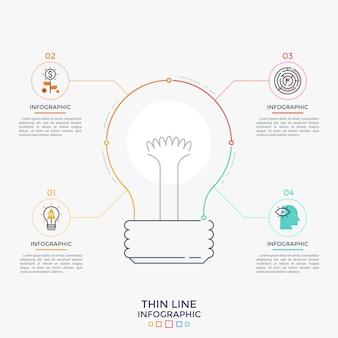 Gloeilampsymbool in het midden verbonden met 4 ronde elementen met lineaire pictogrammen binnen en tekstvakken. concept van vier kenmerken van bedrijfsidee. minimale infographic ontwerpsjabloon. vector illustratie.
