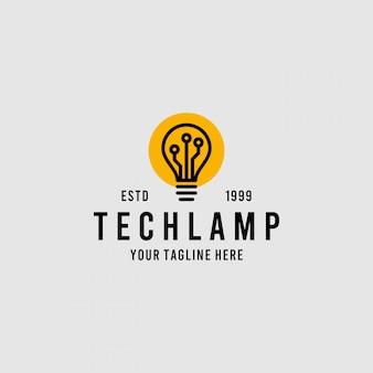 Gloeilamptechnologie-logo met minimalistische creatieve stijl